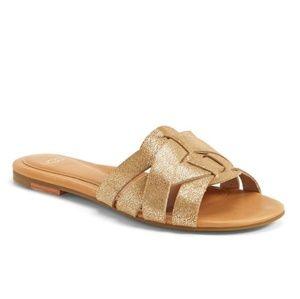 UGG Chanez gold leather slides size 8